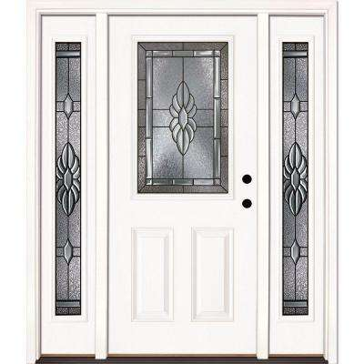 63.5 in. x 81.625 in. Sapphire Patina 1/2 Lite Unfinished Smooth Left-Hand Fiberglass Prehung Front Door with Sidelites