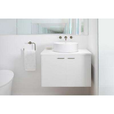 Jute 36 in. Vanity in Linen White with Vitreous China Vanity Top in White
