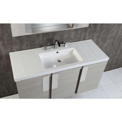 Carmel 48 in. W x 18.31 in. D x 25.59 in. H Single Vanity in Gray Pine with Ceramic Vanity Top in White with White Basin