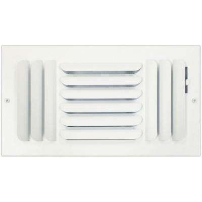 6 in. x 12 in. Ceiling or Wall Register with Curved 3-Way Deflection, White