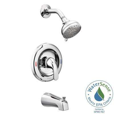 Adler 1-Handle 4-Spray Tub and Shower Faucet with Valve in Chrome