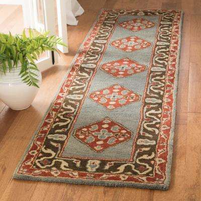 Heritage Blue/Charcoal 2 ft. x 8 ft. Runner Rug
