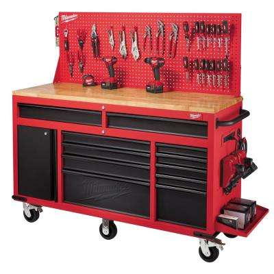 61 in. 11-Drawer/1-Door 22 in. D Mobile Workbench with Sliding Pegboard Back Wall in Red/Black