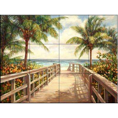 I'm Going to the Beach 17 in. x 12-3/4 in. Ceramic Mural Wall Tile