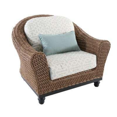 Camden Light Brown Seagrass Wicker Outdoor Patio Lounge Chair w/ Sunbrella Sunbrella Cast Spa Cushions(2-Pack)