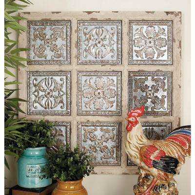 31 in. x 31 in. Rustic Traditional Square Wall Panel in Distressed Finish with Embossed Filigree