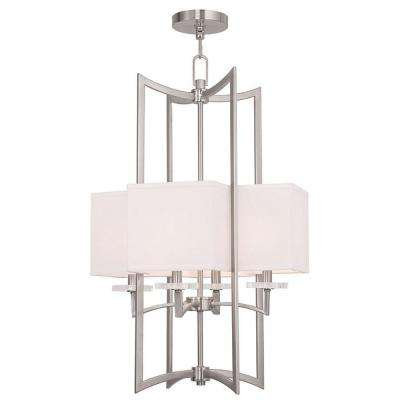 Woodland 8-Light Brushed Nickel Mini Chandelier with Hand Crafted Off-White Fabric Hardback Shade
