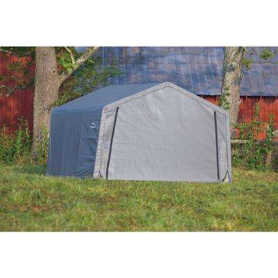 12 ft. W x 12 ft. D x 8 ft. H Peak-Style Steel Shed-In-A-Box Storage Shed in Grey with Patented Stabilizers