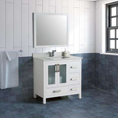 21 in. W x 34 in. D x 35 in. H Vanity with Vanity Top in White with White Basin