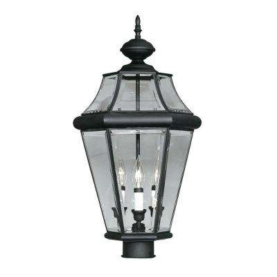 Providence 3-Light Outdoor Black Incandescent Post Lantern