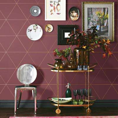 56.4 sq. ft. Twilight Red Geometric Wallpaper