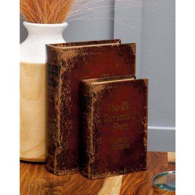 Vintage Rectangular Wood and Faux Leather Antique Book Boxes (Set of 3)