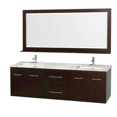 Centra 72 in. Double Vanity in Espresso with Marble Vanity Top in Carrara White and Under-Mount Sink