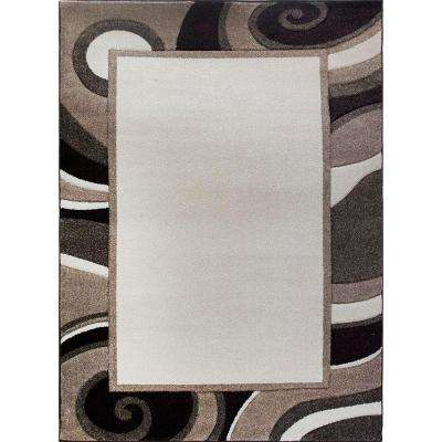 Bazaar Wavy Border Cream/Brown 7 ft. 10 in. x 10 ft. 1 in. Indoor Area Rug