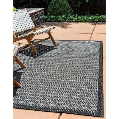 Outdoor Checkered Gray 6' 0 x 9' 0 Area Rug