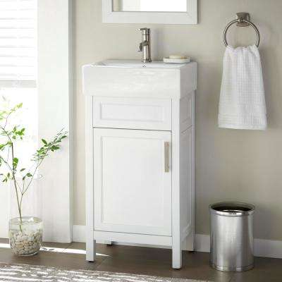 Arvesen 18 in. W x 12 in. D Vanity in White with Ceramic Vanity Top in White with White Sink