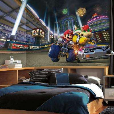 72 in. W x 126 in. H Mario Kart 8 XL Chair Rail 7-Panel Prepasted Wall Mural