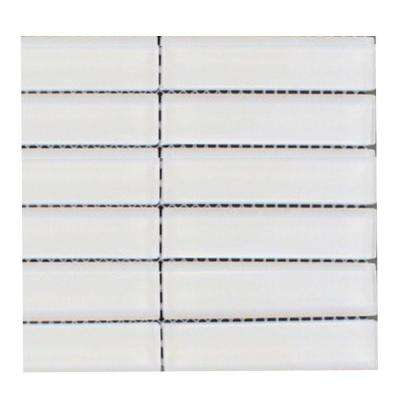 Contempo Bright White Polished Glass Mosaic Floor and Wall Tile - 3 in. x 6 in. x 8 mm Tile Sample