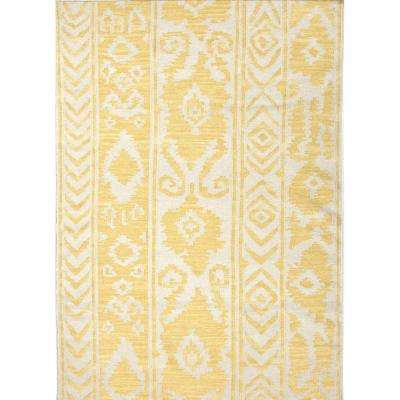 Flat-Weave Misted Yellow 9 ft. x 12 ft. Tribal Area Rug