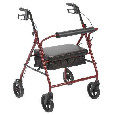 Bariatric Rollator with 8 in. Wheels in Red