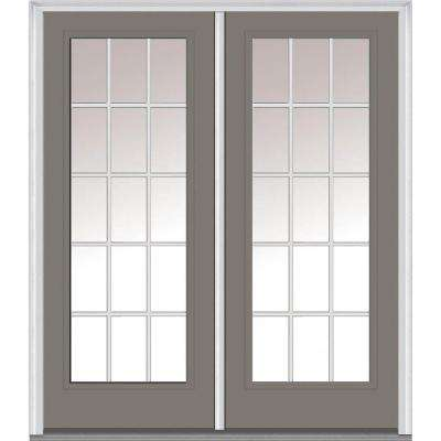 66 in. x 81.75 in. Classic Clear Glass GBG Full Lite Painted Majestic Steel Exterior Double Door