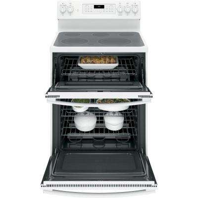 6.6 cu. ft. Double Oven Electric Range with Self-Cleaning Convection Oven (Lower Oven Only) in White