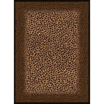 Leopard Skin Beige/Black 5 ft. 3 in. x 7 ft. 2 in. Area Rug
