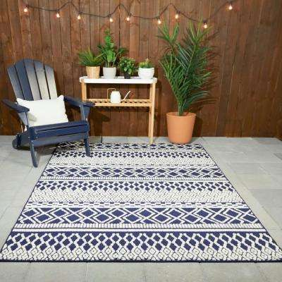 Tribal Pattern Navy/White 8 ft. x 10 ft. Striped Indoor/Outdoor Area Rug