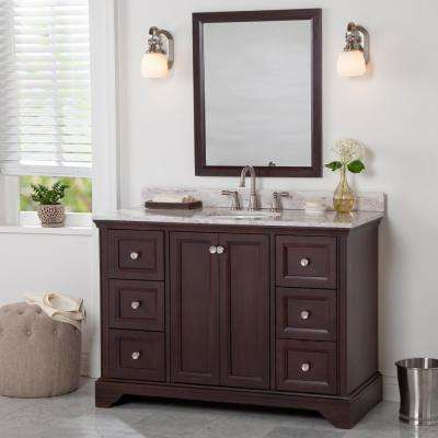 Stratfield 49 in. W x 22 in. D Bath Vanity in Chocolate with Stone Effect Vanity Top in Winter Mist with White Sink