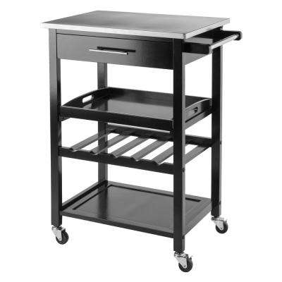 Anthony Black Kitchen Cart With Stainless Steel Top