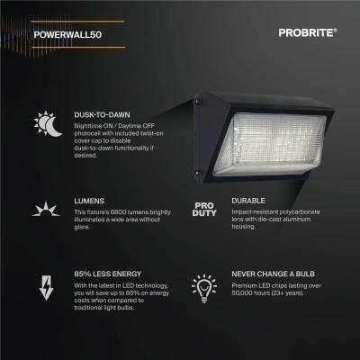 High-Output 50-Watt  LED Wall Pack, Bronze, 6800 Lumens, Dusk to Dawn Outdoor Light (2-Pack)