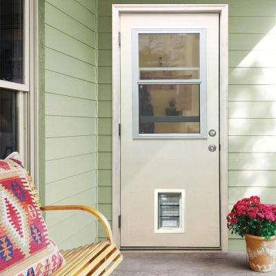 32 in. x 80 in. Classic Clear Vented Half Lite RHOS White Primed Fiberglass Prehung Front Door with Med Pet Door
