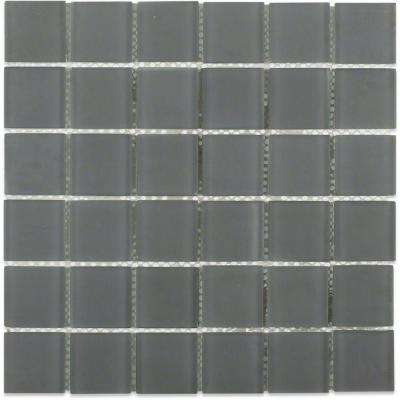 Contempo Smoke Gray Polished 12 in. x 12 in. x 8 mm Glass Floor and Wall Mosaic Tile