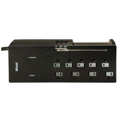 Home Office 9-Outlet 3000-Joule Surge Protector with Phone/Fax/DSL and Sliding Safety Covers, 6 ft. Power Cord - Black