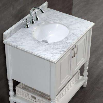 Karlie 30 in. W x 22 in. D Bath Vanity in White with Natural Marble Vanity Top in White