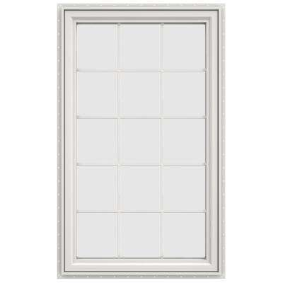35.5 in. x 59.5 in. V-4500 Series Left-Hand Casement Vinyl Window with Grids - White