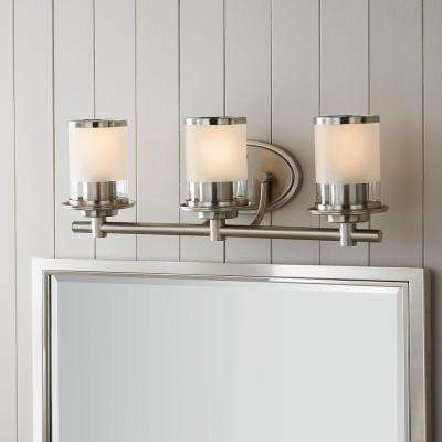 Truitt 3-Light Brushed Nickel Vanity Light with Clear and Sand Glass Shades