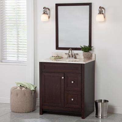 Brinkhill 31 in. W x 22 in. D Bathroom Vanity in Chocolate with Stone Effect Vanity Top in Dune with White Sink