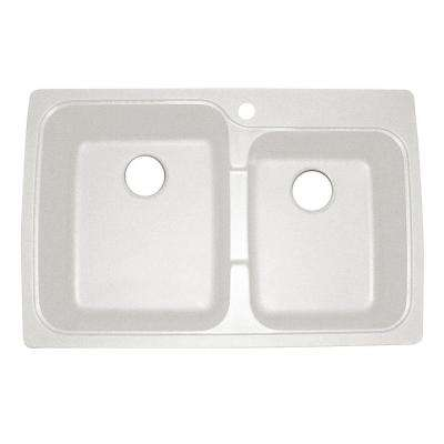 Offset Dual Mount Granite 33 in. 1-Hole Double Bowl Kitchen Sink in White