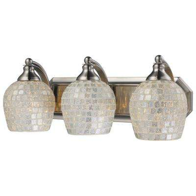 3-Light Satin Nickel Vanity Light with Silver Mosaic Glass