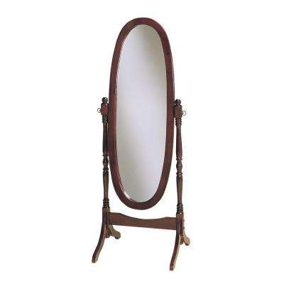 59.25 in. x 22.5 in. Cherry Wood Framed Cheval Mirror