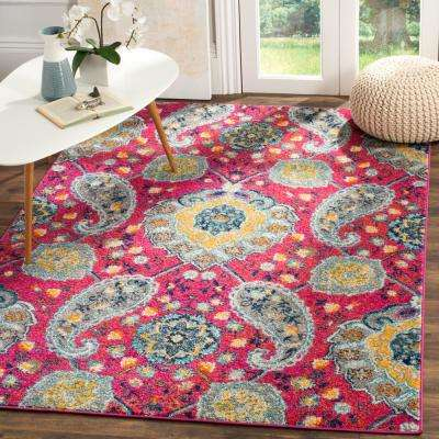 Madison Fuchsia/Gold 6 ft. 7 in. x 6 ft. 7 in. Square Area Rug