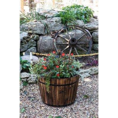 23 in. Dia x 17 in. H Brown Cedar Wood Round Large Garden Planter Whiskey Barrel