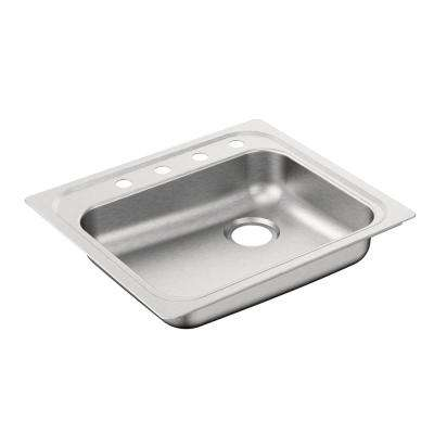 2000 Series Drop-In Stainless Steel 25 in. 4-Hole Single Basin Kitchen Sink