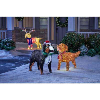 37 in. Christmas Warm White LED Bernese Mountain Dog