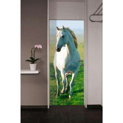 79 in. x 34 in. White Horse Wall Mural