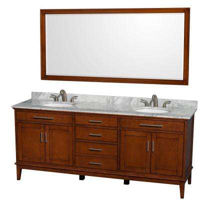 Hatton 80 in. Vanity in Light Chestnut with Marble Vanity Top in Carrara White, Sink and 70 in. Mirror