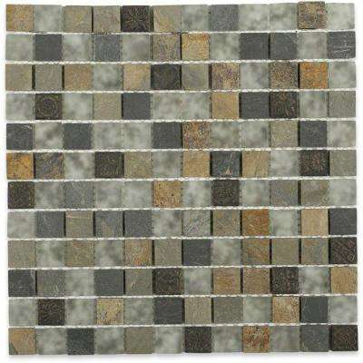 Splashback Tile Tapestry 12 inch x 12 inch x 8 mm Marble and Glass Mosaic Floor and Wall Tile