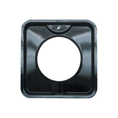 7.75 in. Gas Square Drip Pan in Black Porcelain