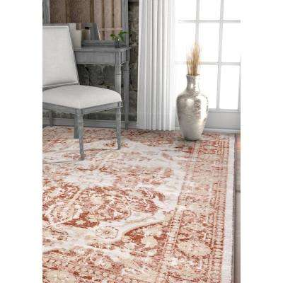 Kensington Maxwell Copper 9 ft. 3 in. x 12 ft. 6 in. Modern Medallion Antique Vintage Distressed Area Rug